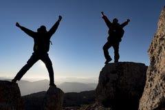 高峰登山攀登 免版税库存照片