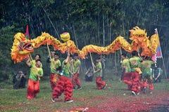 高州市,中国–大约2019年3月:乘Nian李的机会龙舞蹈 免版税库存照片