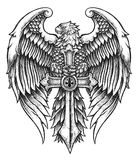 高度与剑的详细的老鹰 免版税库存照片