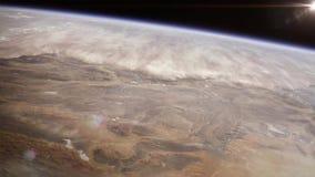 高度地球高空间视图 纳米比亚沙漠在西南非洲 免版税库存照片
