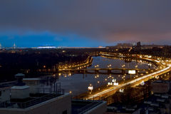 从高度的看法在晚上ligh的河内娃 图库摄影
