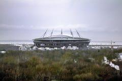 从高度的看法在晚上ligh的Zenit竞技场 库存照片