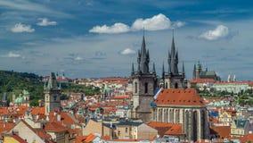 从高度粉末塔的看法在布拉格timelapse 历史和文化纪念碑 股票视频