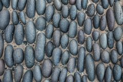 高度鹅卵石路面的详细的图象 库存照片