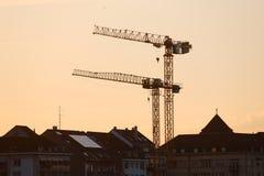 高建筑用起重机 库存照片