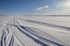 高明的冰雪橇跟踪 库存图片