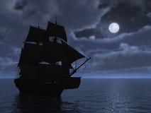 高月光的船 免版税图库摄影