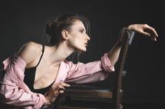 高档时尚神色,美好的少妇模型画象  免版税库存照片