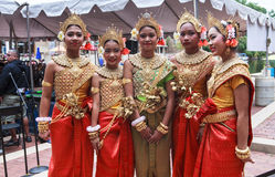 高棉柬埔寨人舞蹈家 免版税库存照片