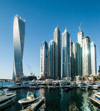高楼,迪拜市Scapes,小游艇船坞 免版税库存照片