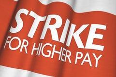 更高的薪水的罢工 库存图片