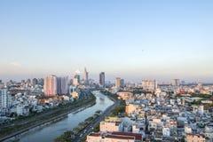 从高看法的Tau虎队运河在胡志明市,越南 免版税图库摄影