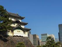 高知,日本- 2015年3月26日:高知城堡全视图  库存图片