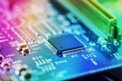 高科技电路板关闭,宏指令 信息技术的概念 库存照片