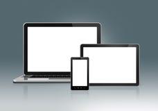 高科技膝上型计算机、手机和数字式片剂个人计算机 免版税库存图片