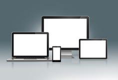 高科技计算机在未来派灰色背景设置了 免版税库存图片