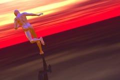 高科技赛跑者和红色天空 免版税图库摄影
