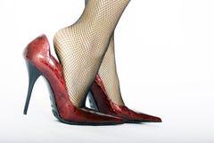 高红色的脚跟 库存图片