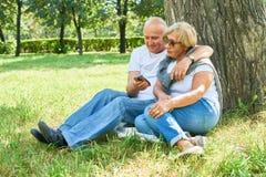 高级夫妇在公园 免版税库存照片