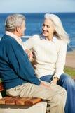 高级夫妇坐长凳Sea Together 库存图片