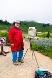 高级男性艺术家绘画本质 库存照片
