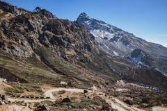 从高级观看在Lachung看迂回路线在冬天的Yumthag谷 北部锡金,印度 库存图片