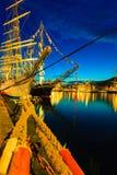 高船在2014年7月26日的港口赛跑在卑尔根,挪威 库存照片