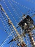 高船帆柱和索具 免版税库存照片