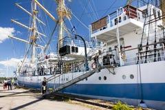 高船种族科特卡2017年 科特卡,芬兰16 07 2017年 运输在科特卡,芬兰港的Mir  库存照片