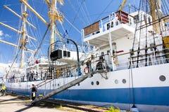 高船种族科特卡2017年 科特卡,芬兰16 07 2017年 运输在科特卡,芬兰港的Mir  免版税库存照片