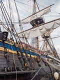 高船Gotheborg炮甲板和mastst  免版税图库摄影