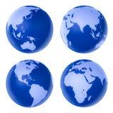 高蓝色详细的地球四 库存图片