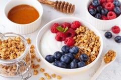 高蛋白和饮食早餐自创格兰诺拉麦片油炸马铃薯片用莓、蓝莓和希腊酸奶 免版税库存照片