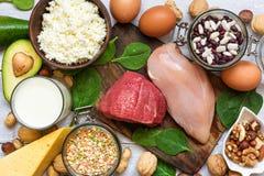 高蛋白的食物 健康吃和饮食概念 库存图片