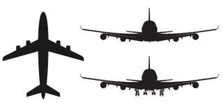 高详细的传染媒介飞机剪影,坚实例证,隔绝在白色 库存例证