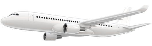 高详细的白色班机, 3d在白色背景回报 飞机离开,被隔绝的3d例证 如同 向量例证