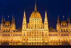高详细资料被射击匈牙利议会。 库存照片