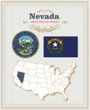 高详细的传染媒介设置了与旗子,徽章内华达 美国海报 2007个看板卡招呼的新年好 皇族释放例证