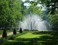 高豪华的白色喷泉在petergof公园  免版税库存图片