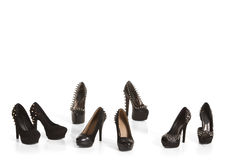 黑高跟鞋鞋子的汇集 免版税库存图片