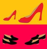 高跟鞋鞋子 两个对不同 免版税库存照片