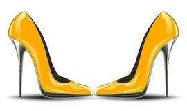 高跟鞋黄色鞋子 免版税库存图片