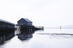 高跷的议院在码头边缘在植物的太平洋海岸soothi的 免版税库存照片