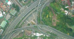 高速公路交叉点鸟瞰图在雅加达 股票视频