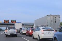 高速公路交通堵塞日本 免版税库存照片