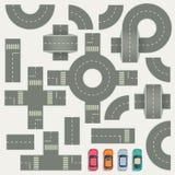 高速公路修路地图顶视图传染媒介元素 免版税图库摄影