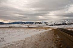 高速公路冬天 库存图片