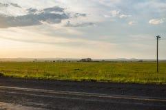 高速公路和草甸,自由州,南非 免版税库存照片