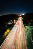 110高速公路和街市洛杉矶地平线的看法 图库摄影