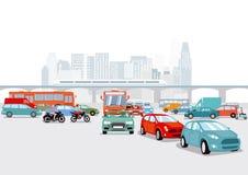 高速公路和铁路在大城市 向量例证